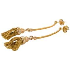 18 Karat Three-Tone Gold Tassel Drop Earrings