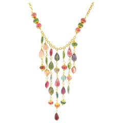 Pink Green Tourmaline Rhodolite Peridot Aquamarine Colour Stone Bead Necklace