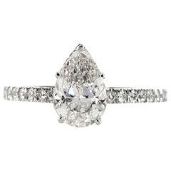 GIA Certified 2.16 Carat Pear Shape Diamond Engagement Ring