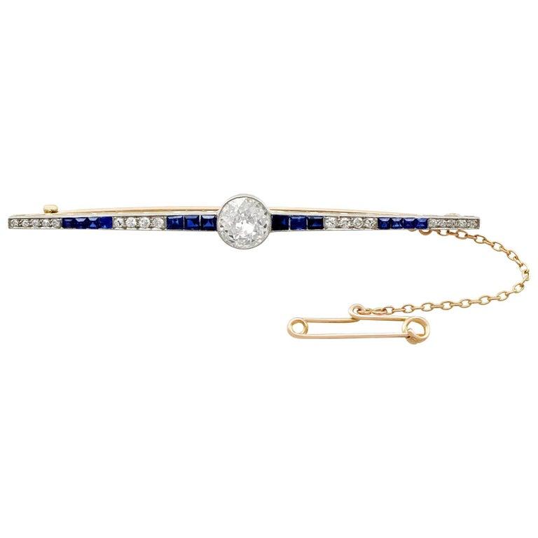 1910s Antique 2.10 Carat Diamond Yellow Gold Platinum Set Bar Brooch