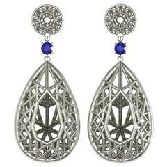 Sayaka Yamamoto & Sparkles 18 Karat White Gold and Sapphire Earrings