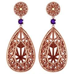 Sayaka Yamamoto and Sparkles 18 Karat Rose Gold and Sapphire Earrings