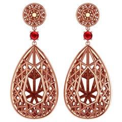 Sayaka Yamamoto & Sparkles 18 Karat Rose Gold and Ruby Earrings