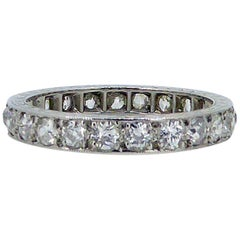 1.50 Carat Art Deco Old European Cut Diamond Eternity/Wedding Ring, Platinum