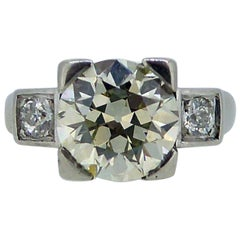 2.60 Carat Art Deco Diamond Ring, Early Brilliant/Old European Cut Diamonds