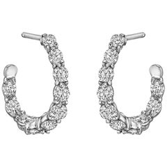 "Gumuchian Small Diamond ""New Moon"" Hoop Earrings"