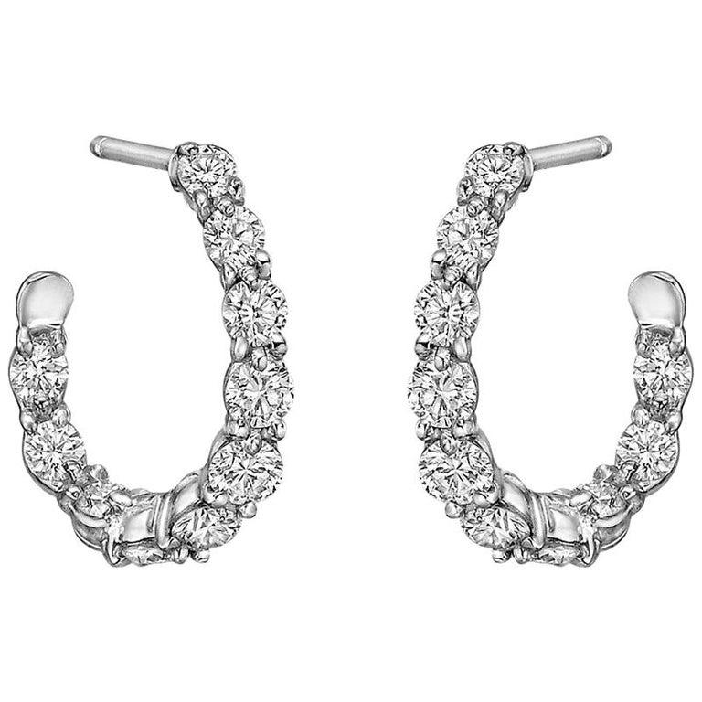 """Gumuchian Small Diamond """"New Moon"""" Hoop Earrings"""