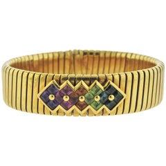 Bulgari Multi-Color Gemstone Gold Tubogas Bracelet