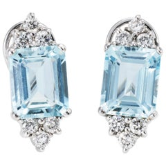 Aquamarine Diamond Earrings Vintage 14 Karat White Gold