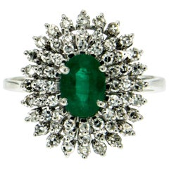 Estate Colombian Emerald Diamond Gold Cluster Ring