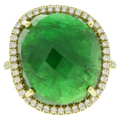 Tsavorite and Diamond Yellow Gold Cocktail Ring