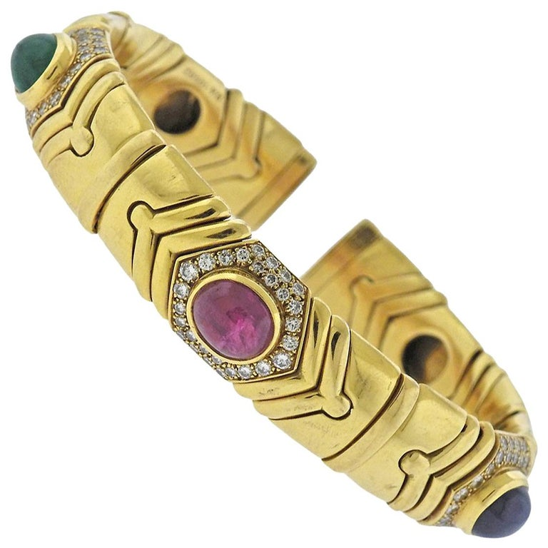 Bulgari Diamond Emerald Ruby Sapphire Gold Bracelet For Sale