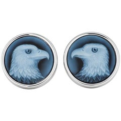 Handmade Carved Blue Agate Gold Bald Eagle Cufflinks
