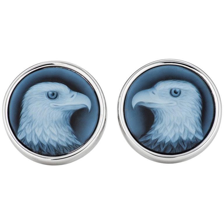 Handmade Carved Blue Agate Gold Bald Eagle Cufflinks