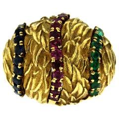 1950 Retro Italian Multi-Gemstones Ring