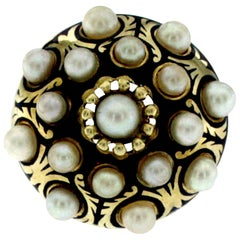 Victorian Pearls Enamel Gold Ring
