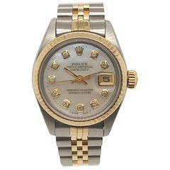 Rolex Ladies yellow gold Stainless Steel Diamond Dial Date wristwatch, c 1983