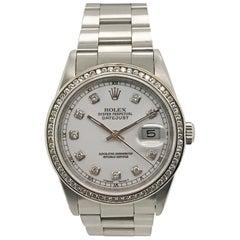 Rolex Stainless Steel Diamond Datejust Oyster Bracelet Wristwatch, 1991