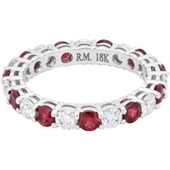 Alternating Ruby and Diamond Eternity Wedding Band