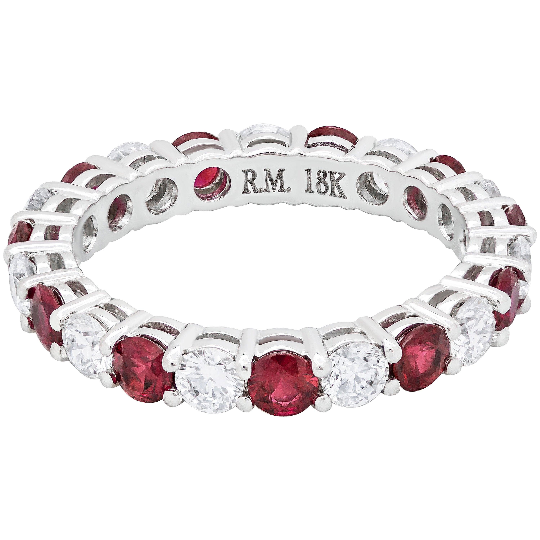 Roman Malakov Alternating Ruby and Diamond Eternity Wedding Band