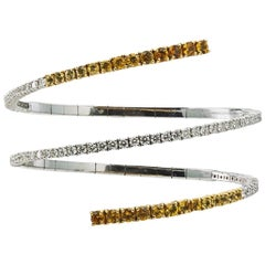 Stephan Hafner, 18 Carat Diamond and Saphire Flexible Bangle