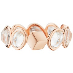 18 Karat Rose Gold White Sapphire, 5.05 Carat Ombre Ring