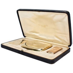 Art Deco 14 Karat Gold Smoking Set with Cigarette Case, Card Case and Match Safe