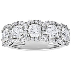 Five-Stone Cushion Cut Diamond Halo Wedding Band