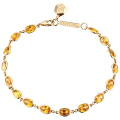 18 Karat Yellow Gold Orange Sapphire 8.50 Carat Ombre Bracelet