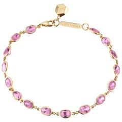 18 Karat Yellow Gold Pink Sapphire 8.50 Carat Ombre Bracelet