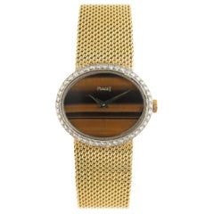 Piaget Ladies Yellow Gold Diamond Tiger Eye Dial Mechanical Wristwatch