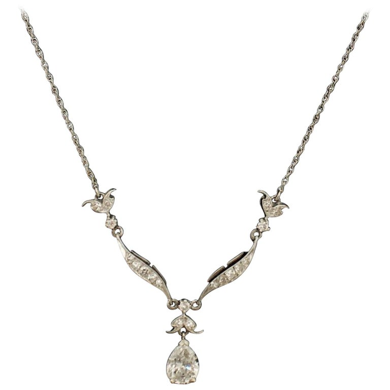 Diamond Dangling Diamond Pear Shape Necklace in Platinum on 14 Karat Chain For Sale
