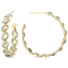 18 Karat Yellow Gold Green Sapphire 14.75 Carat Ombre Hoop Earrings, Medium