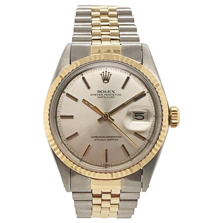 Rolex Yellow Gold Stainless Steel Datejust Jubilee Bracelet Wristwatch, c 1970