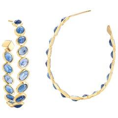18 Karat Yellow Gold Blue Sapphire 17.90 Carat Ombre Hoop Earrings, Grande