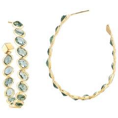 18 Karat Yellow Gold Green Sapphire 17.90 Carat Ombre Hoop Earrings, Grande