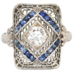 .40 Carat Diamond and Sapphire Engagement Ring