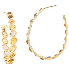 18 Karat Yellow Gold Orange Sapphire 17.90 Carat Ombre Hoop Earrings, Grande
