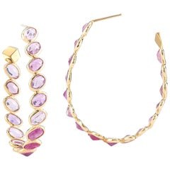 18 Karat Yellow Gold Pink Sapphire 17.90 Carat Ombre Hoop Earrings, Grande