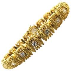Elegant Tiffany & Co. Line Bracelet with Diamond Centers in Original Box