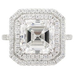 J. Birnbach GIA Certified 4.09 Carat Square Emerald Cut Diamond Ring