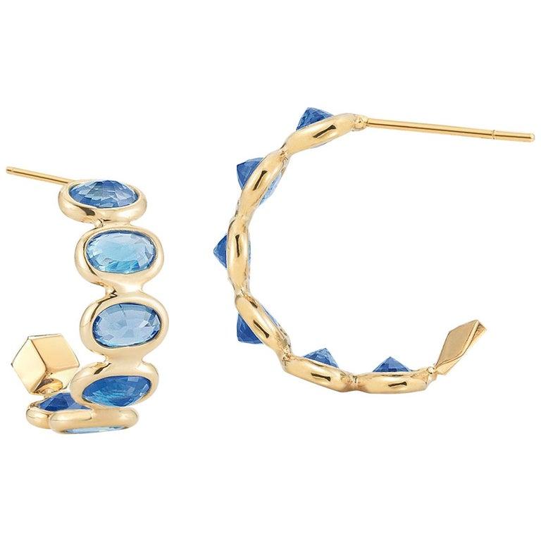 18 Karat Yellow Gold Blue Sapphire 3.70 Carat Hoop Earrings, Petite