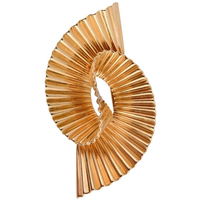 Tiffany & Co. Retro Gold Swirl Brooch