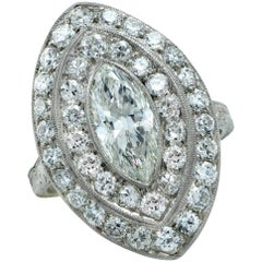 Art Deco 1.04 Carat Marquise Cut Diamond Platinum Ring