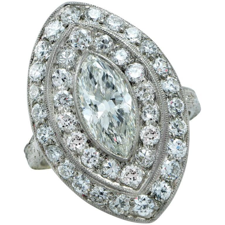Art Deco 1.04 Carat Marquise Cut Diamond Platinum Ring For Sale