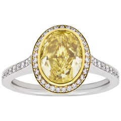 4.00 Carat Fancy Intense Yellow Diamond Halo Engagement Ring
