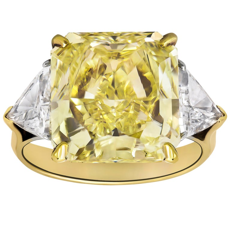 GIA Certified Fancy Yellow Radiant Cut Diamond Three-Stone Engagement Ring