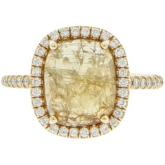 Natural Yellow Sapphire and Diamond Ring