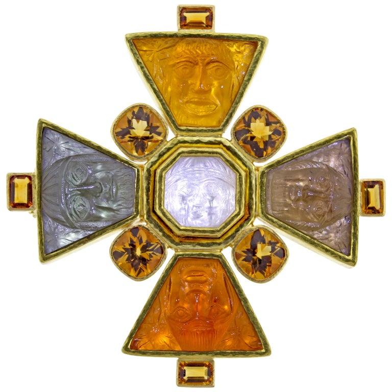 Elizabeth Locke Bomarzo Large Citrine Gold Maltese Cross Brooch Pendant For Sale