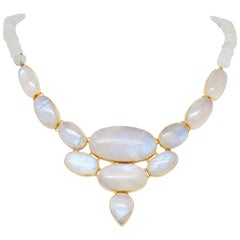 Modern Cabochon Moonstone Symmetrical Vermeil Necklace